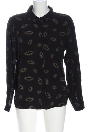 Geisha Hemd-Bluse schwarz-wollweiß Allover-Druck Casual-Look