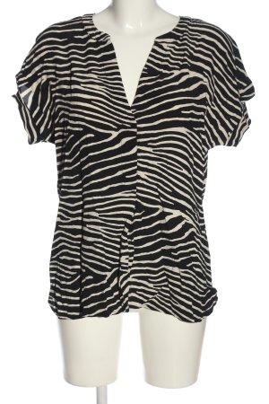 Geisha Kurzarm-Bluse schwarz-wollweiß Streifenmuster Casual-Look