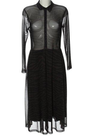 Geisha Langarmkleid schwarz-braun Allover-Druck extravaganter Stil