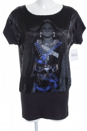 Geisha Longshirt schwarz-dunkelgrau Casual-Look