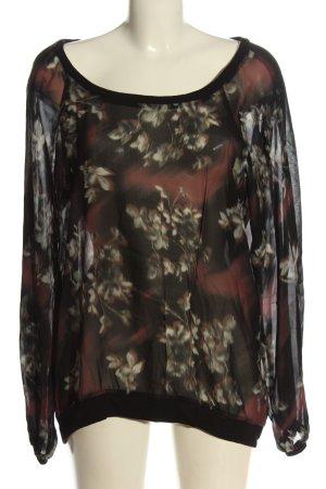 Geisha Transparenz-Bluse khaki-rot Blumenmuster Elegant