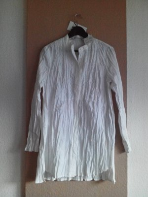 geknitterte Long-Bluse in weiss, Größe L, neu