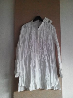 geknitterte Long-Bluse in weiss, Größe XL, neu