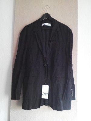 geknitterter Long-Blazer in schwarz, Grösse M, neu