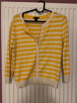 H&M Basic Cárdigan largo blanco-amarillo pálido