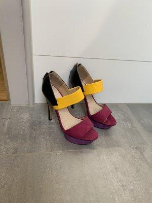 Gelb-pink/violette-schwarze High-Heels