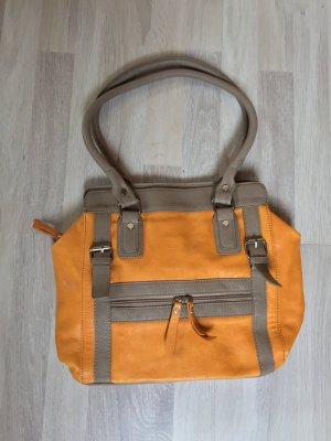 Gelb/senf braune Leder Handtasche, Shopper (NEUw.)