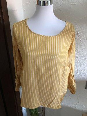 gelb weiße Bluse / Blusenshirt / Langarmshirt / Shirt von Stitch & Soul - Gr. M