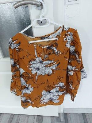 Gelbe Damen Bluse mit Blumenmuster gr.L XL