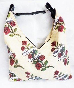 gelbe Henkeltasche Handtasche gelb mit Rosen Motiv Umhängetasche Trend