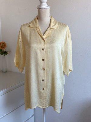 Gelbe Kurzarm Vintage Bluse