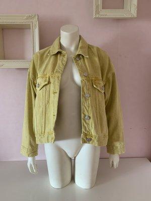 Gelbe Oversized Jeansjacke von Zara im Vintage Stil