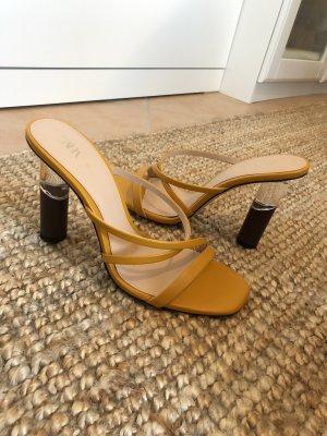 Zara Zomerschoenen met hak donkerbruin-goud Oranje