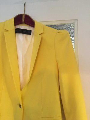 Zara Basic Tuxedo Blazer yellow mixture fibre
