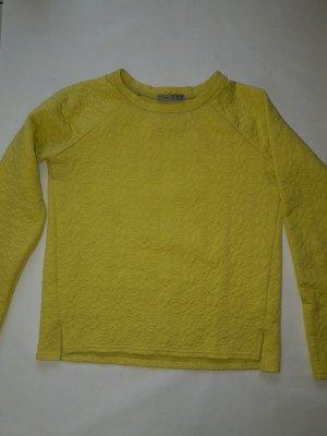 Gelber langarm Pulli Sweatshirt / Pulli mit Muster Shirt in sonnengelb, Gr. S, wie Neu