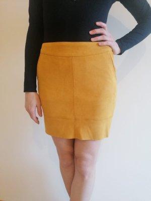 Only Skórzana spódnica bladożółty-złotopomarańczowy
