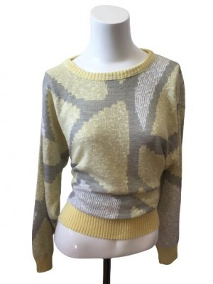 Gelber Sweater Strick Pullover made in DE-M/L