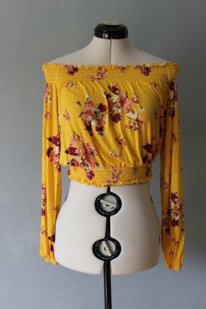 Gelbes Cropped Langarm Shirt