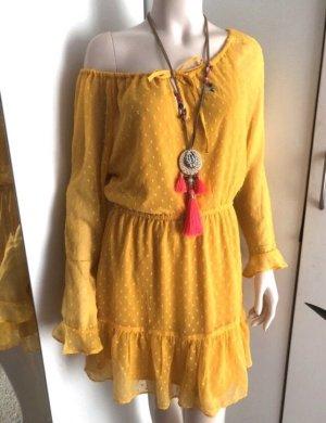 Gelbes langarm Kleid, Volants boho Rüschen
