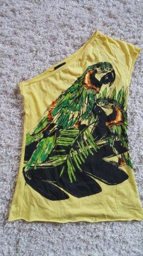 Gelbes One-Shoulder Shirt mit Papageien