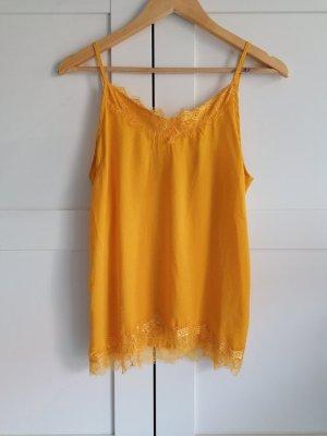 Saint Tropez Top de encaje amarillo-naranja dorado