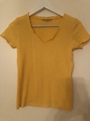 Gelbes T-Shirt mit V-Ausschnit in Waffelpique