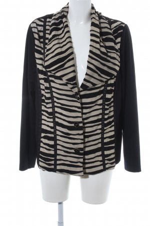 Gelco Kurz-Blazer schwarz-beige Streifenmuster Casual-Look