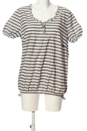 Gelco Kurzarm-Bluse weiß-schwarz Streifenmuster Casual-Look