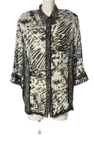 Gelco Transparenz-Bluse weiß-schwarz abstraktes Muster Casual-Look