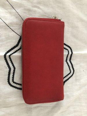Geldbeutel rot echtes Leder - NEU einfach