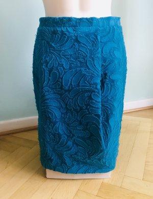 Carven Jupe taille haute bleu pétrole coton
