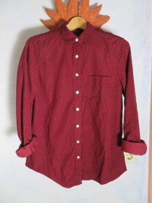 gemütliche Burgundy Lands`End dunkelrote Kordbluse Babykord Hemd-Bluse mit Muster - Gr. 40 - 100% Baumwolle - Feincordhemd - Dots