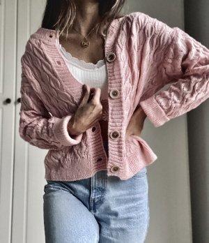 Vintage Veste tricotée en grosses mailles rosé-vieux rose