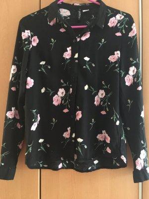Devided von H&M Long Sleeve Blouse black-pink viscose
