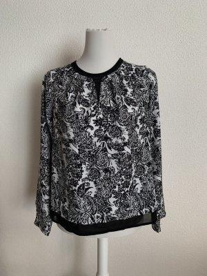 gemusterte Bluse schwarz/weiß
