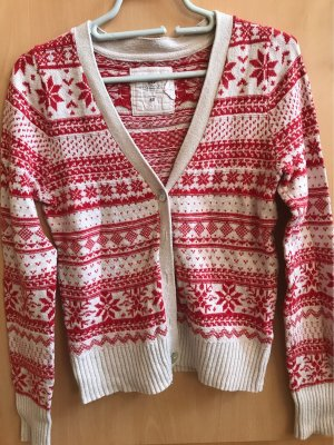 H&M L.O.G.G. Norwegian Cardigan natural white-red