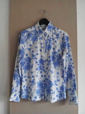 gemusterte Hemdbluse in weiß-blau aus 100% Baumwolle, Größe 36