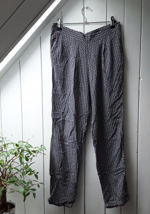 H&M Pantalón estilo Harem blanco-azul oscuro