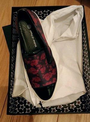 Zapatos formales sin cordones negro-rojo