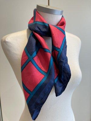 Original Vintage Bufanda de seda magenta-azul Seda