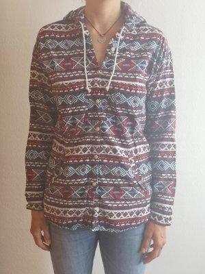 gemustertes Baumwollhemd mit Kapuze