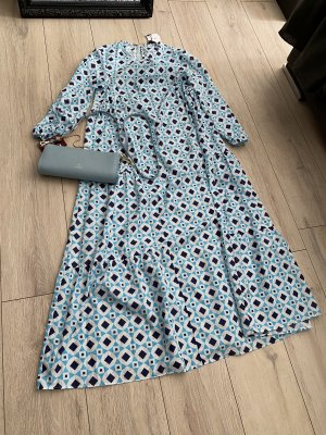 gemustertes langes Zara Boho Vintage Kleid weiß/blau