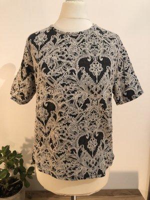 Gemustertes Tshirt | Grau Weiß