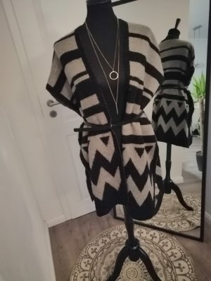Pieces Cardigan a maniche corte marrone-nero-beige