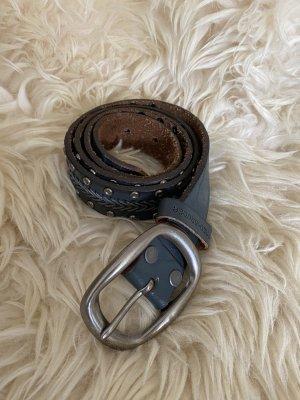 Fredsbruder Cinturón de cuero petróleo-color plata Cuero