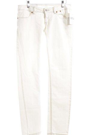 Gentex Straight-Leg Jeans weiß Logo-Applikation aus Leder
