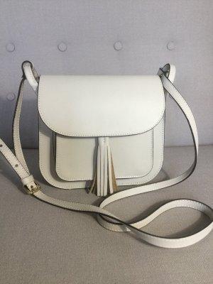 Genuine Leather Börse in Pelle kleine Umhängetasche in Weiß. Leder.