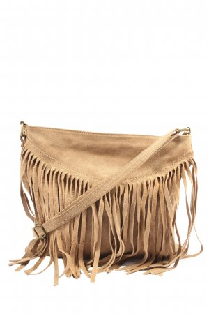 Genuine Leather Bolso de flecos marrón look casual