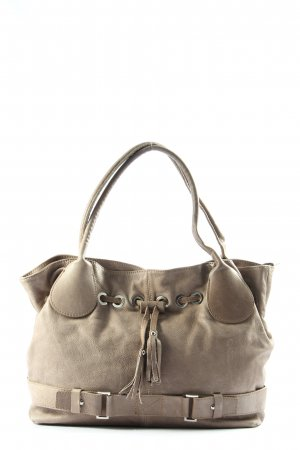 Genuine Leather Henkeltasche hellgrau Casual-Look