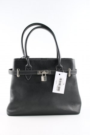 Genuine Leather Henkeltasche schwarz Business-Look